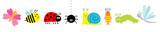 Fototapeta Fototapety na ścianę do pokoju dziecięcego - Cute cartoon insect set line. Ladybug, ladybird, bee, dragonfly, butterfly, caterpillar, spider, cockroach, snail. White background Isolated.