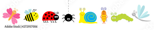 Cute cartoon insect set line. Ladybug, ladybird, bee, dragonfly, butterfly, caterpillar, spider, cockroach, snail. White background Isolated.