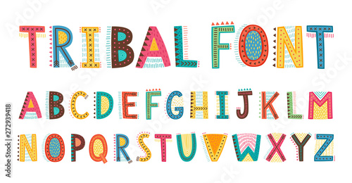 Canvastavla Tribal cute alphabet font. Uppercase doodle Letters.