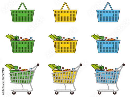 Fototapeta ショッピングカートと買い物カゴ