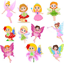 Set Of Cute Beautiful Fairies Cartoon Isolated On A White Background
