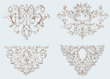 Set Of Vintage Decorative Elements With Baroque Ornament. Engraving Style