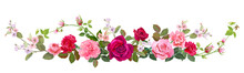 Panoramic View: Bouquet Of Roses, Carnation, Spring Blossom. Horizontal Border: Red, Pink Flowers, Buds, Green Leaves, White Background. Digital Draw Illustration In Watercolor Style, Vintage, Vector