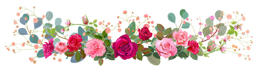 NaklejkaPanoramic view: bouquet of rose, carnation, gypsophile, eucalyptus. Horizontal border: red, pink flowers, green leaves, white background. Digital draw illustration in watercolor style, vintage, vector