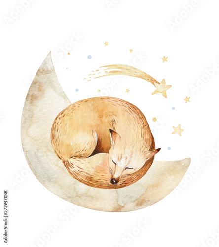 Photo  Cute dreaming cartoon fox animal hand drawn watercolor illustration