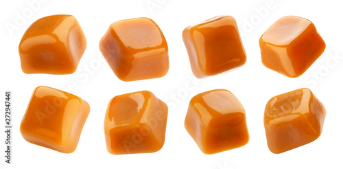 Fotografía  Caramel candies isolated on white background, collection