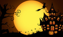 Halloween Pumpkins With Bat And Moon Background.