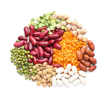 Different Legumes On White Background