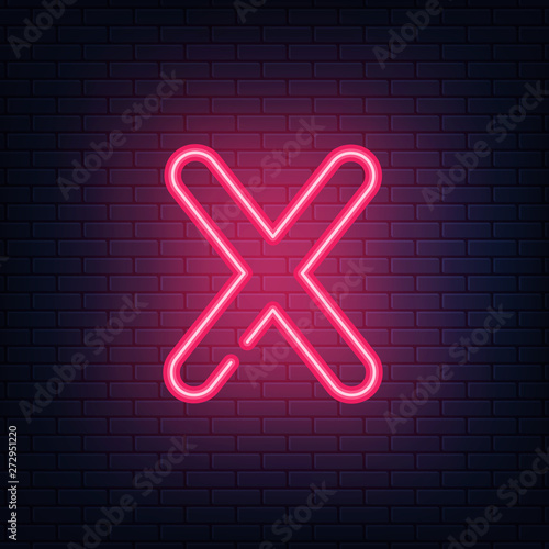 Glowing red neon letters. Realistic bright font on dark brick wall. Vector illustration of eps 10.