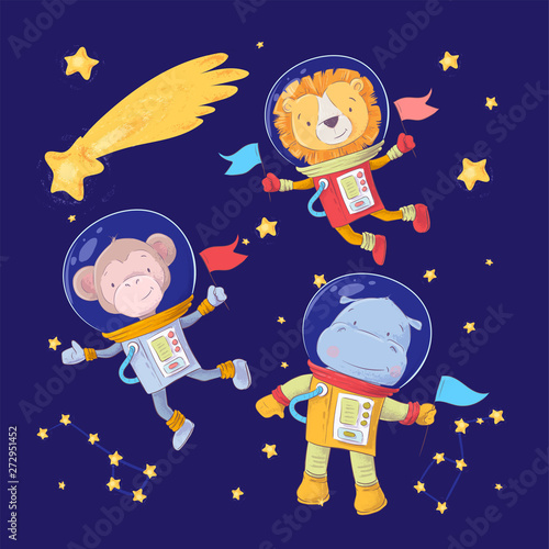 Set of cartoon cute animals monkey lion and hippo astronauts in space with stars and a comet for childrens illustration Wallpaper Mural