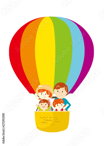気球に乗る家族 イラスト