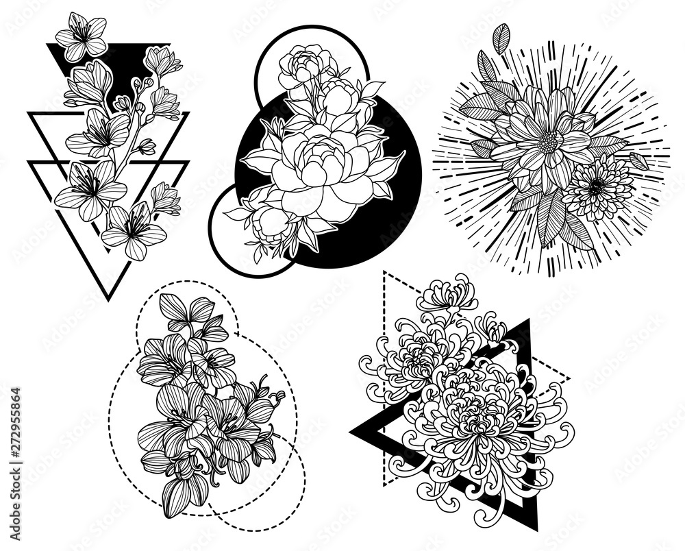 Fototapeta Tattoo art flower hand drawing and sketch black and white with line art illustration isolated on white background.