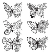 Tattoo Art Butterfly Hand Drawing And Sketch With Line Art Illustration Isolated On White Background.