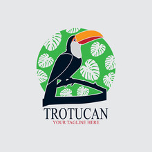 Toucan Bird Logo With Green Leaf Background