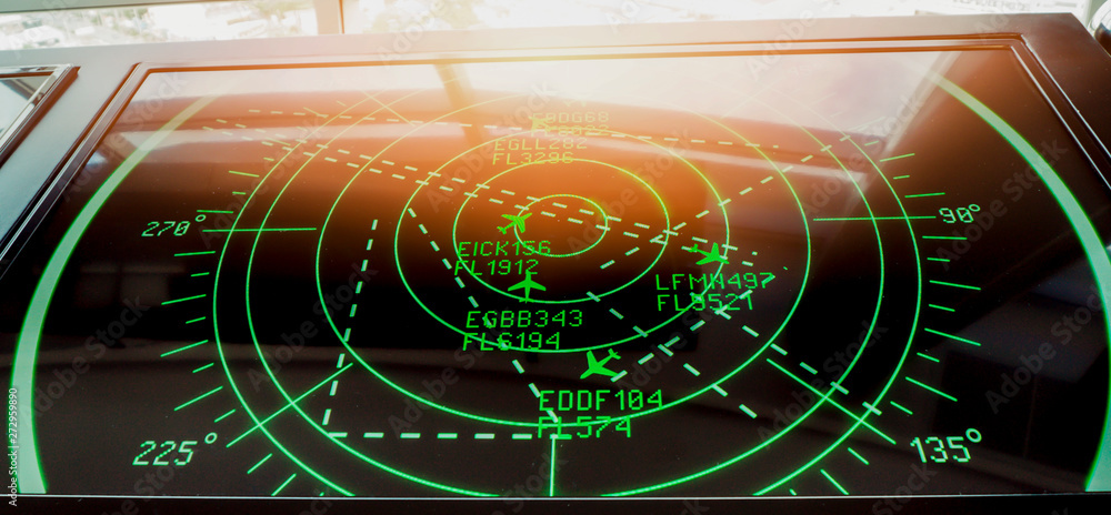 Fototapeta Simulation screen showing various flights for transportation and passengers.