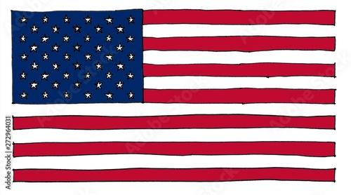 Canvastavla hand drawn American Flag of United States of America