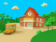 School building and yellow bus with green summer beautiful landscape. Back to school. Volumetric style illustration. 3D render..