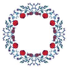 Floral Wreath In Turkish Iznik...