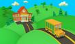 Leinwanddruck Bild - School building and yellow bus with green summer beautiful landscape. Back to school. Volumetric style illustration. 3D render..