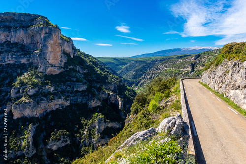 Road clinging to the side of the Gorges de la Nesque in southern France Wallpaper Mural