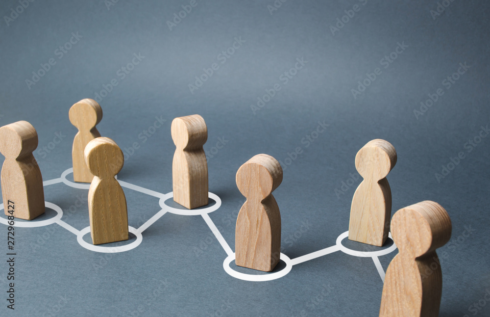 Fototapeta Chain of people figurines connected by white lines. Cooperation and interaction between people and employees. Dissemination of information in society, rumors. Communication. social contacts
