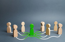 The Green Figure Of A Person Unites Other People Around Him. Call For Cooperation, Creating A New Team. Leader And Leadership, Coordination And Action, Social Connections, Communication. Organization