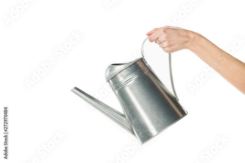 Fotografia cropped view of girl holding watering can isolated on white