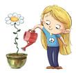 Leinwandbild Motiv little girl watering in a helmet peace
