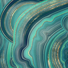 Abstract Background, Fake Stone Texture, Malachite, Agate With Mint Green And Gold Veins, Painted Artificial Marbled Surface, Fashion Marbling Illustration