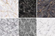 Abstract Background, Black White Gold Marble Sample Collection, Fake Stone Textures Set, Painted Artificial Marbled Surface, Pastel Marbling Illustration