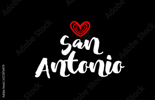 san antonio city on black background with red heart for logo icon design Wallpaper Mural