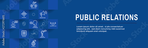 Leinwand Poster Public Relations Web Header Banner and Icon Set with brand awareness, strategy,