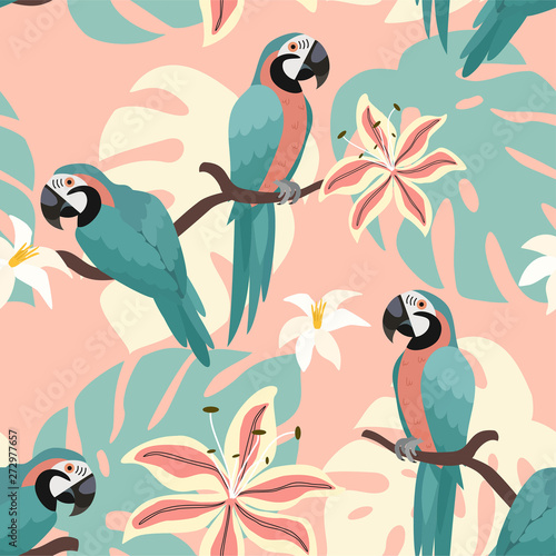 Tropical pattern with parrots and tropical leaves Canvas Print