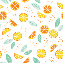 Seamless Pattern With Lemon And Orange Slices. Cute Citrus Summer Background .