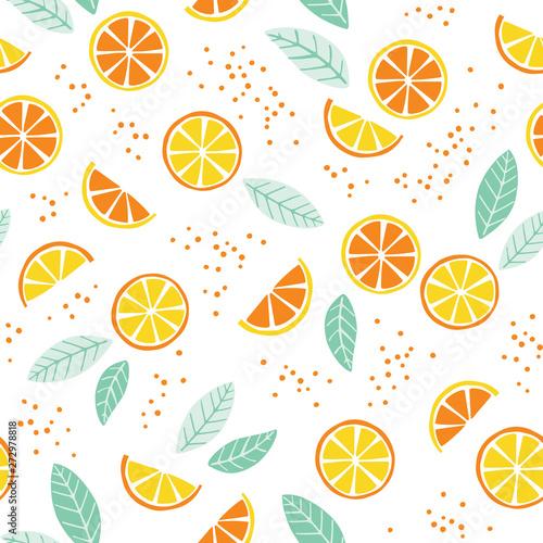 Seamless pattern with lemon and orange slices Tapéta, Fotótapéta