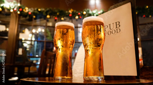 Glass of beers on a local pub #272981048