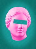 Plakat nowoczesnej sztuki konceptualnej z zielonym różowym kolorowym, antycznym biustem Wenus Kolaż sztuki współczesnej. - 272981452