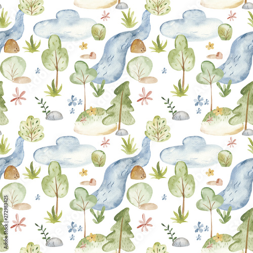 Watercolor seamless pattern with natural cartoon cute rural landscape. Texture for children's design, birthday, wallpaper, scrapbooking, prints, clothing, fabrics, textiles, packaging.