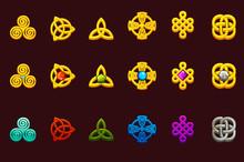 Celtic Symbols In Different Variation. Cartoon Set Celtic Icons.
