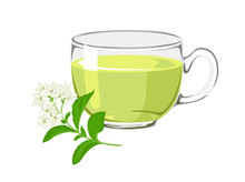 Tea With Stevia. Glass Cup With A Drink And A Natural Sweetener Isolated On A White Background. Vector Illustration In Cartoon Simple Flat Style.