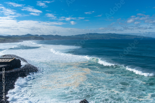 Fototapeta Amazing view of Atlantic Shore at Ribeira Grande. Blue water and clouds. Island of Sao Miguel, Azores Islands, Portugal, Europe obraz na płótnie