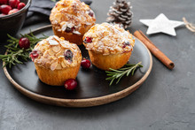 Muffins, Cakes With Cranberry, Rosemary And Almond Nuts. Christmas Decoration. Copy Space.
