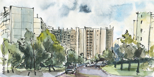 Obraz Urban sketch of a modern city - fototapety do salonu