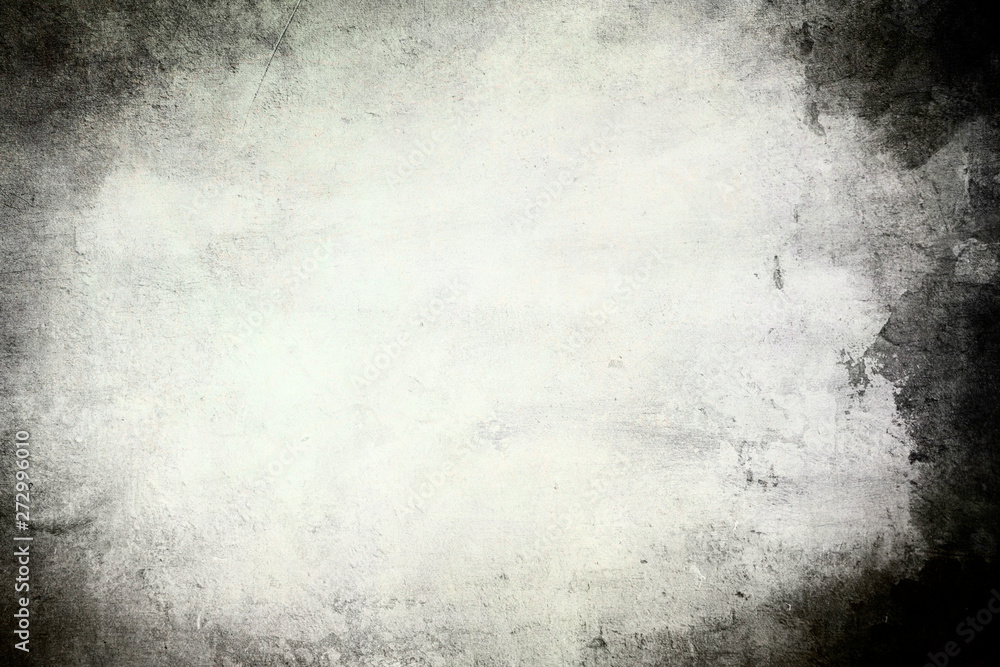 Fototapety, obrazy: Old wall grungy background or texture with dark vignette borders