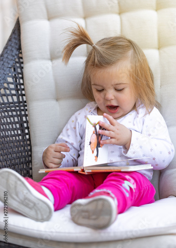 Baby Cute Girl Read Book Child Face Buy This Stock