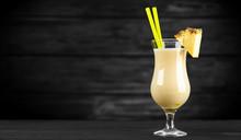 Pina Colada Cocktail On Dark B...