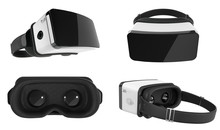 Set Of Black And White VR Virtual Reality Headset Isolated On White Background 3D Illustration