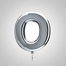 Shiny Metallic Chrome Balloon Letter O Uppercase Isolated On White Background
