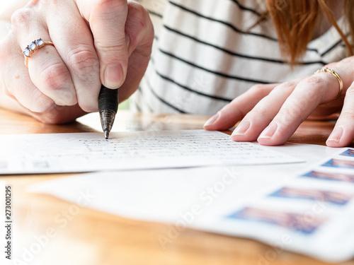 Fotografie, Obraz Woman Writing a Letter