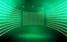 Green Light On The Stage In The Hall